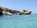 Plaża Xigia - naturalne spa siarkowe na Zakynthos - dobre miejsce do snorkingu, choć woda bywa mętna od siarki