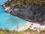 Plaża Xigia - naturalne spa siarkowe na Zakynthos - widok z tawerny przy drodze do Agios Nikolaos